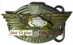 LIVE TO RIDE (SPREAD EAGLE) belt buckle + display stand